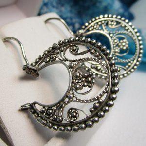 Vintage Filigree Silver Hoop Earrings
